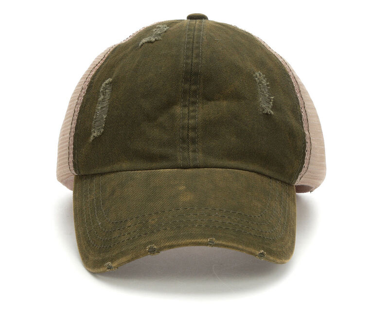 Image of Women's David and Young Washed Distressed Trucker Hat (Green - Size UNSZ)