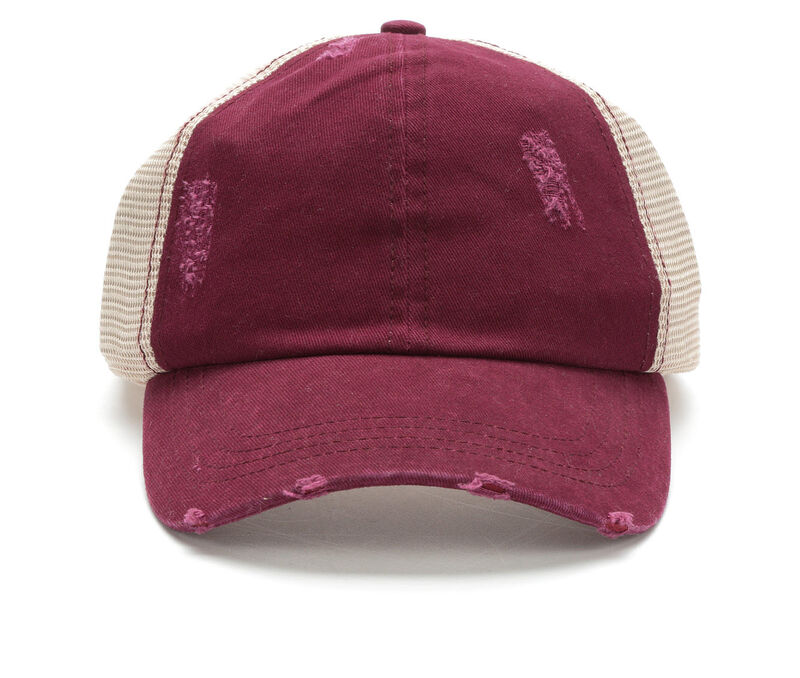 Image of Women's David and Young Washed Distressed Trucker Hat (Purple - Size UNSZ)