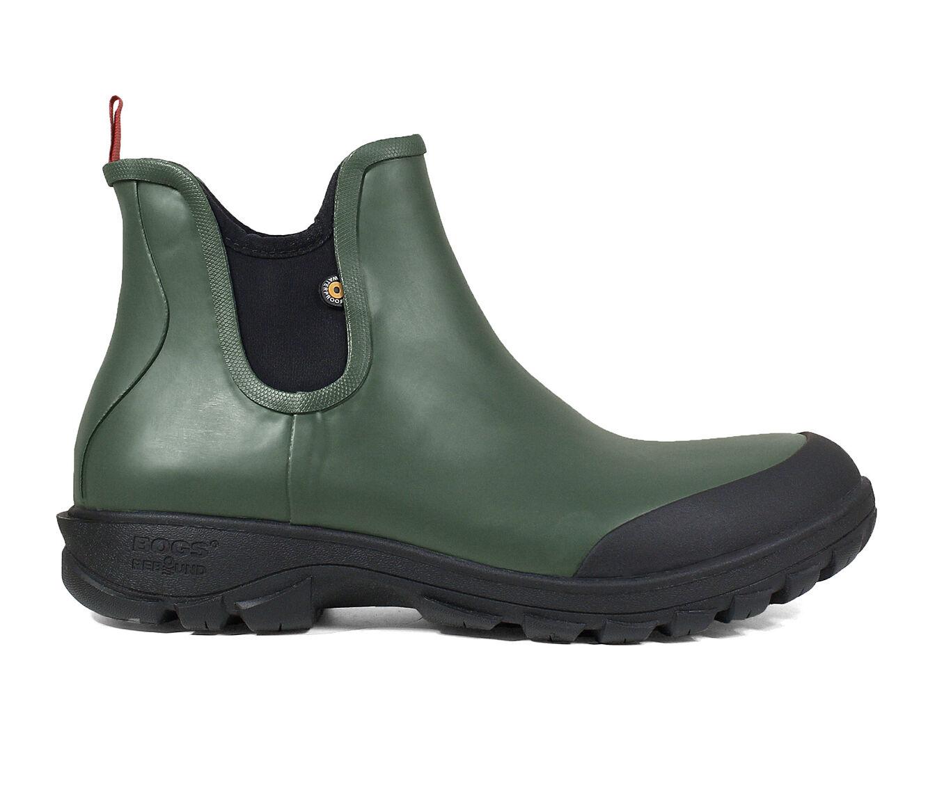 Men's Bogs Footwear Sauvie Slip On Slip Resistant Waterproof Safety Shoes DARK GREEN