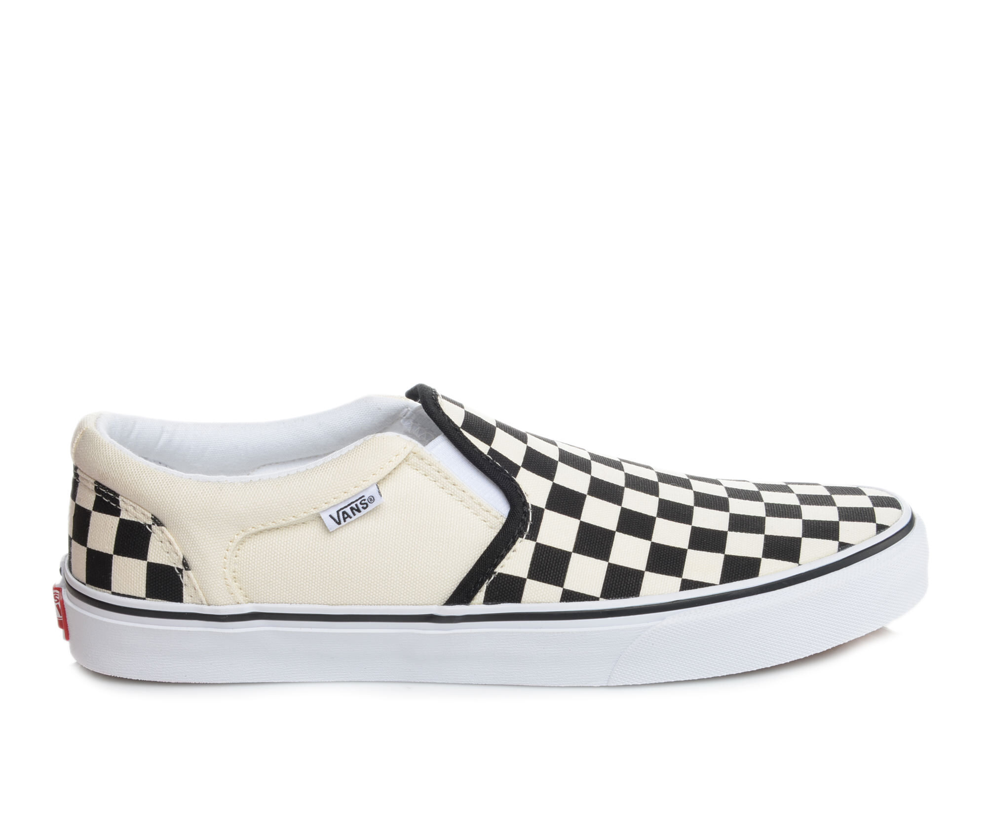 Men's Vans Asher Slip-On Skate Shoes Blk/Crm Checker