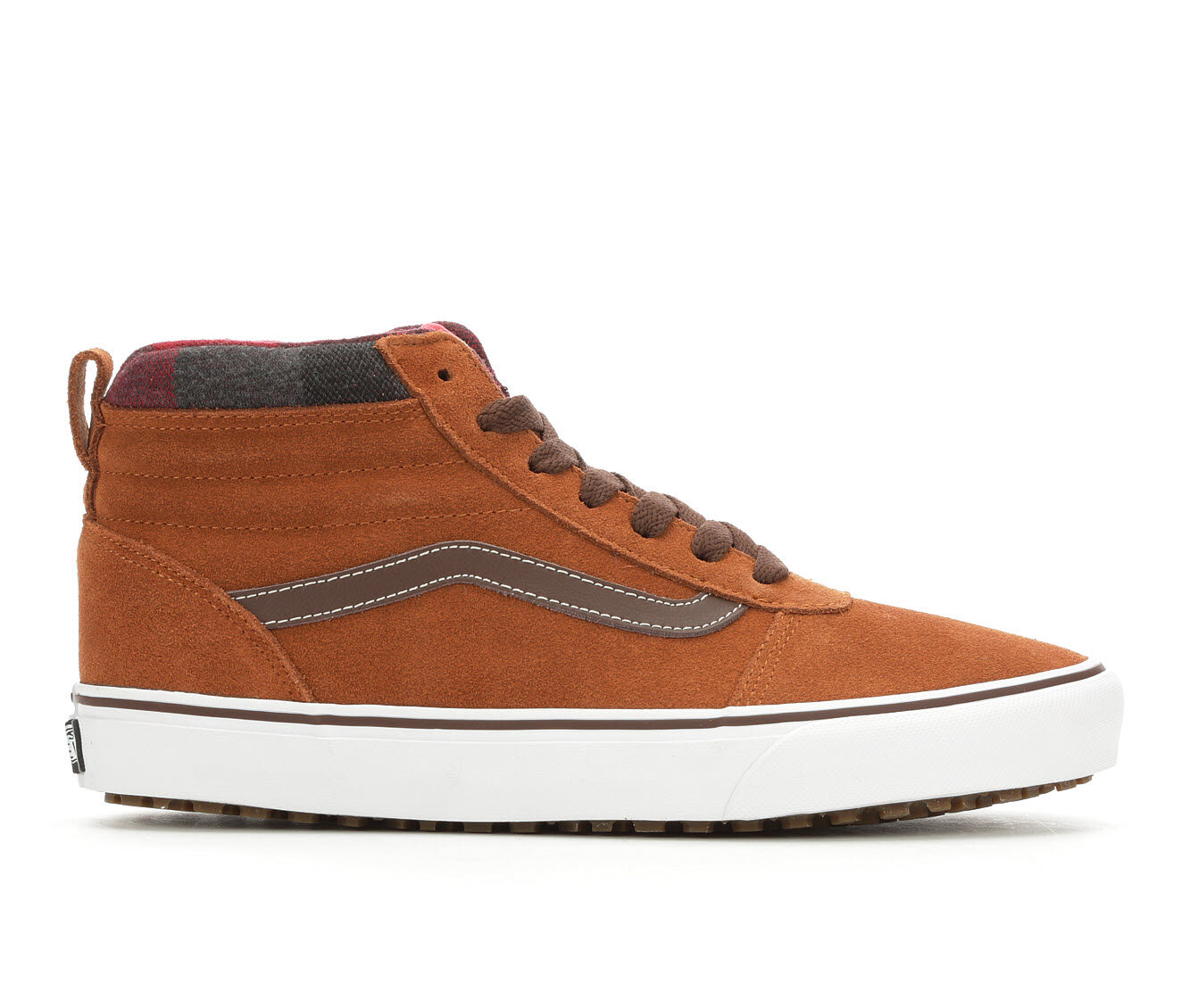Men's Vans Ward Hi MTE Skate Shoes Brn/Wht/Plaid