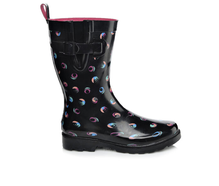 Women's Capelli New York Swirl Dots Mid Shaft Rain Boots