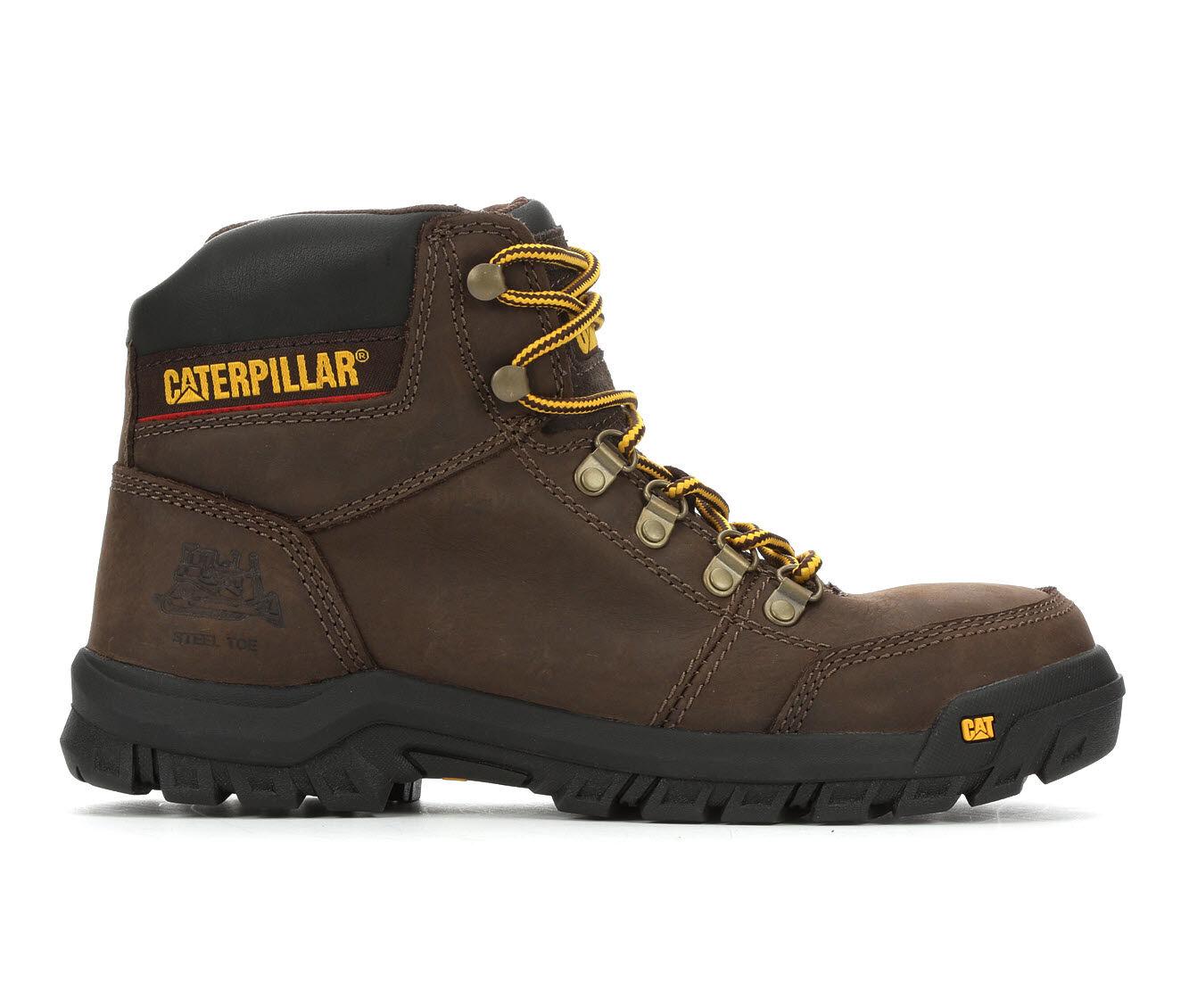 Men's Caterpillar Outline Steel Toe Work Boots Brown