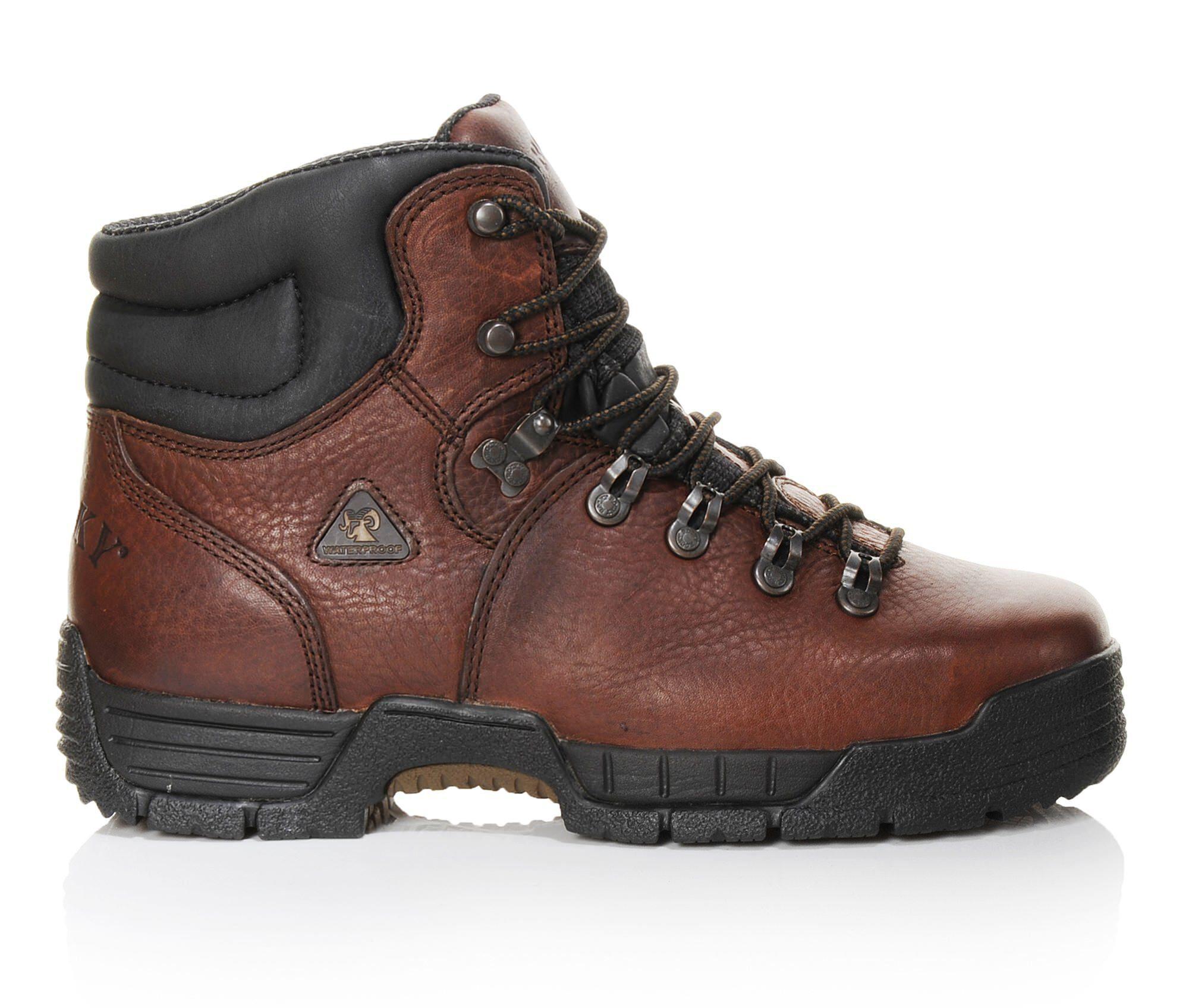 Big Discount Men's Rocky Mobilite 6 In Steel Toe 6114 Work Boots Dark Brown
