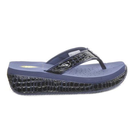 Women's Volatile Mini Croco Platform Flip-Flops