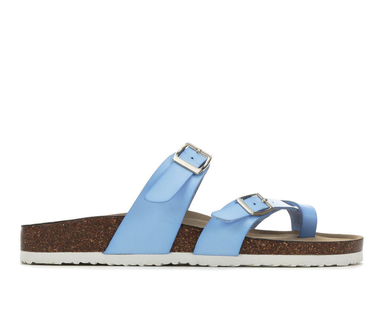 Women's Madden Girl Bryceee Footbed Sandals Brt Blue/White
