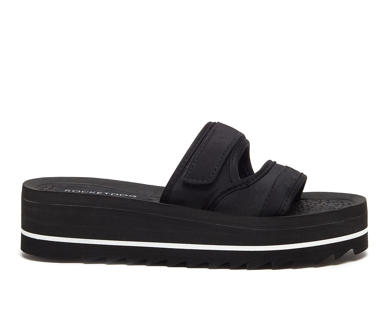 Women's Rocket Dog Manto Flatform Sandals Black/White