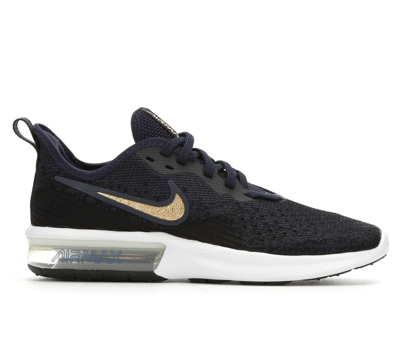 choose comfortable Women's Nike Air Max Sequent 4 Running Shoes Black/Navy/Gold