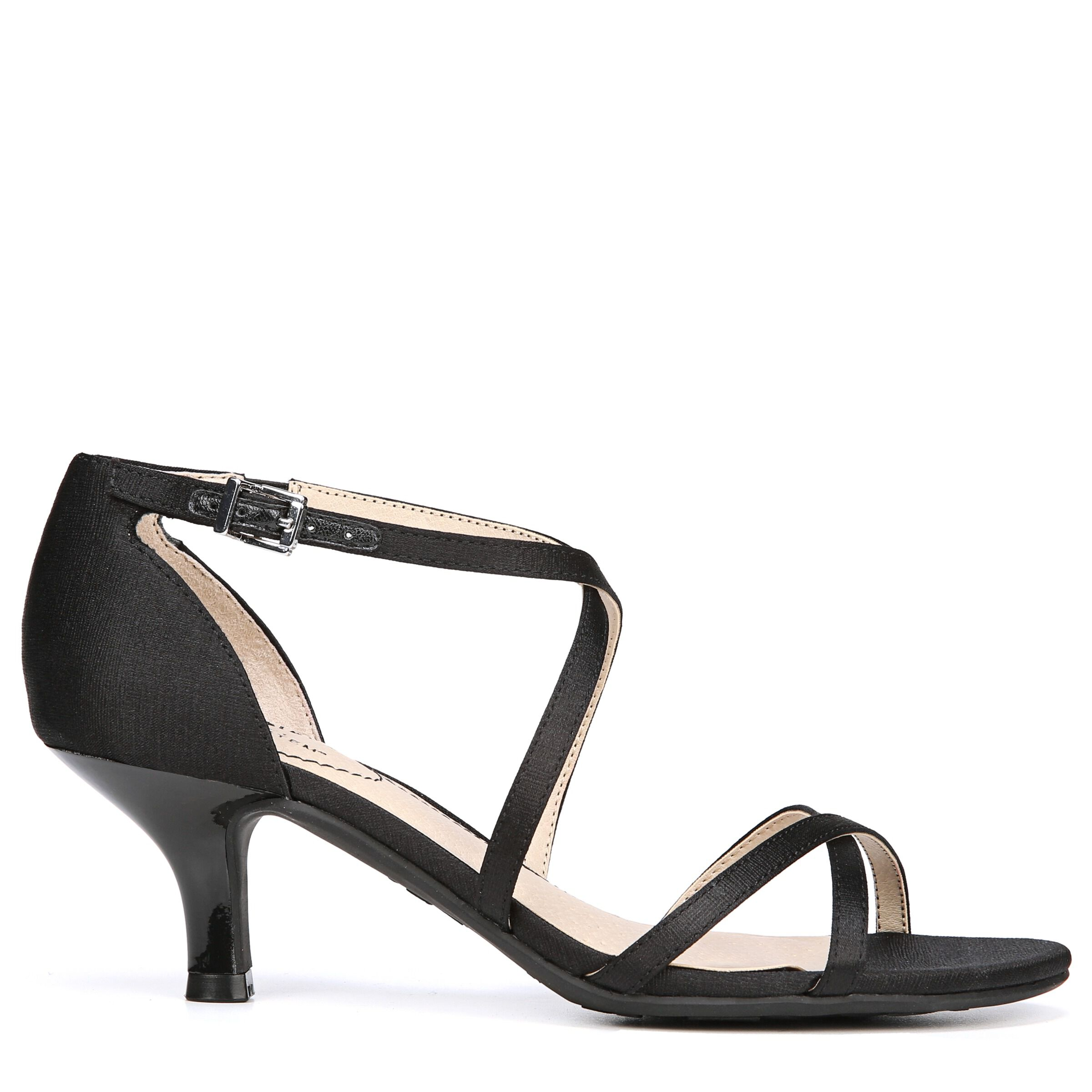 Women's LifeStride Flaunt Strappy Heeled Dress Sandals Blk Texture Sat