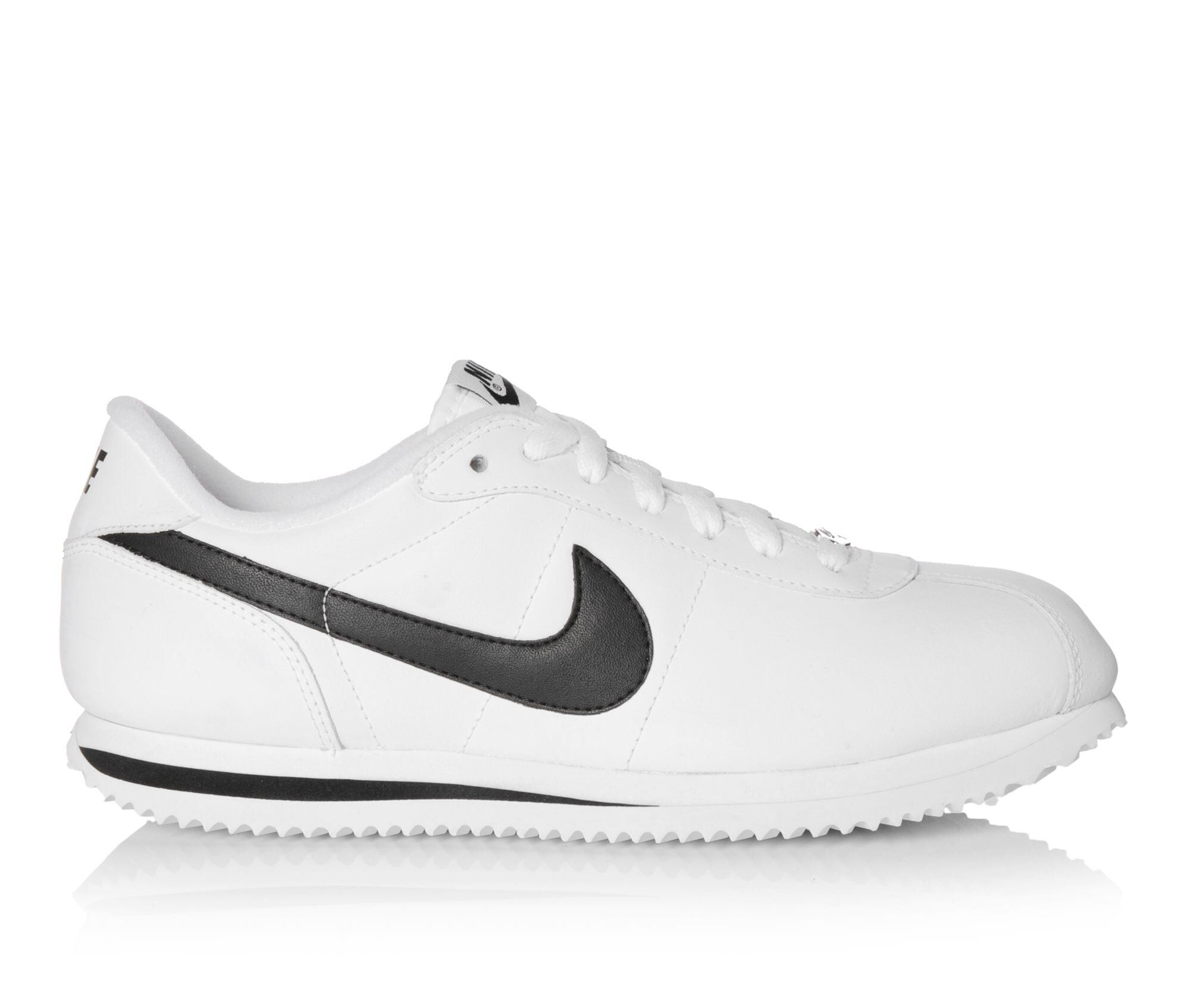 Undersell Men's Nike Cortez Basic Leather Sneakers Wht/Blk/Silv