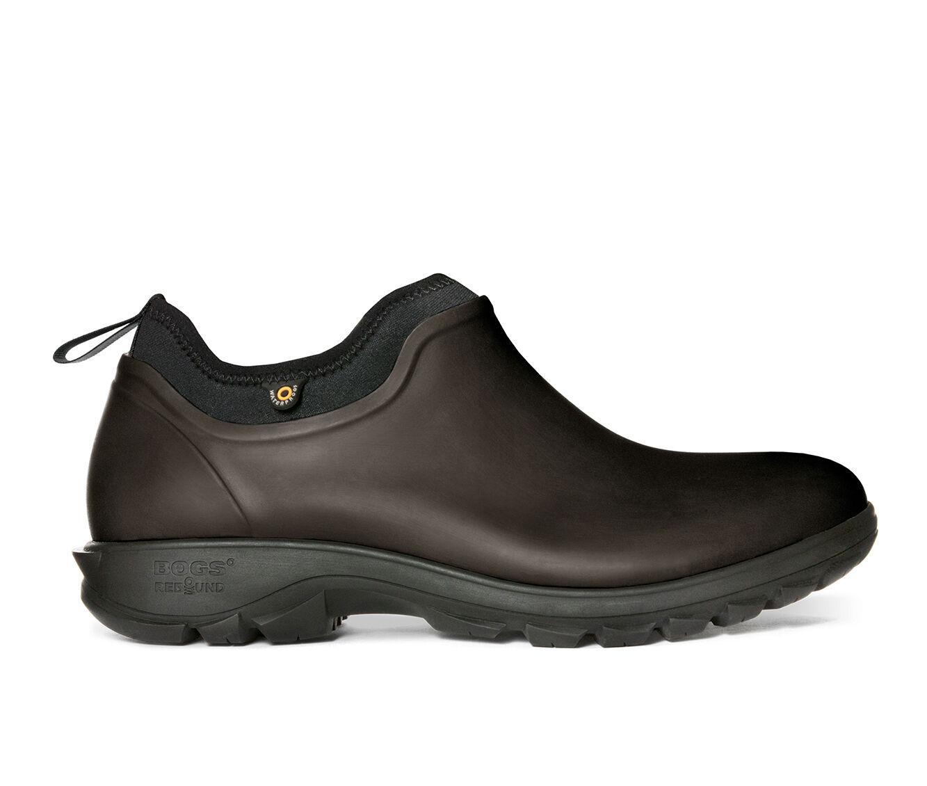 Men's Bogs Footwear Sauvie Slip On Slip Resistant Waterproof Safety Shoes DARK BROWN