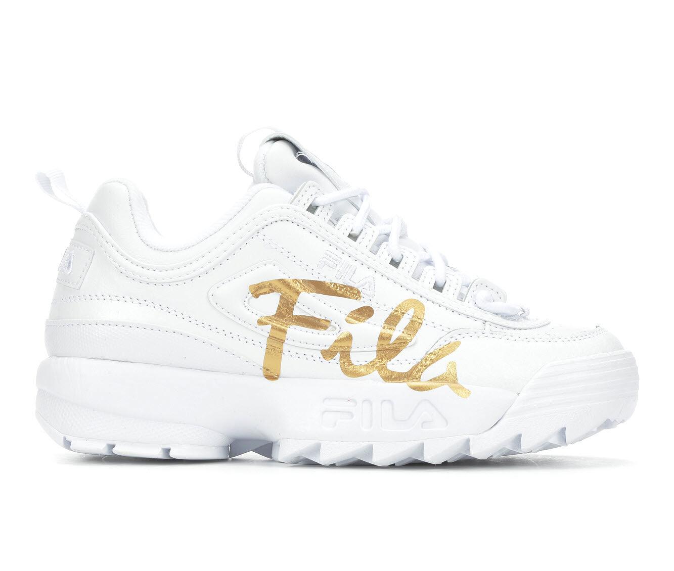 quality guaranteed Women's Fila Disruptor II Script Sneakers White/Met Gold