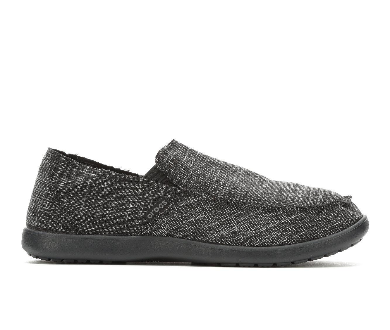 Men's Crocs Santa Cruz Slub Linen Casual Shoes Black/Black