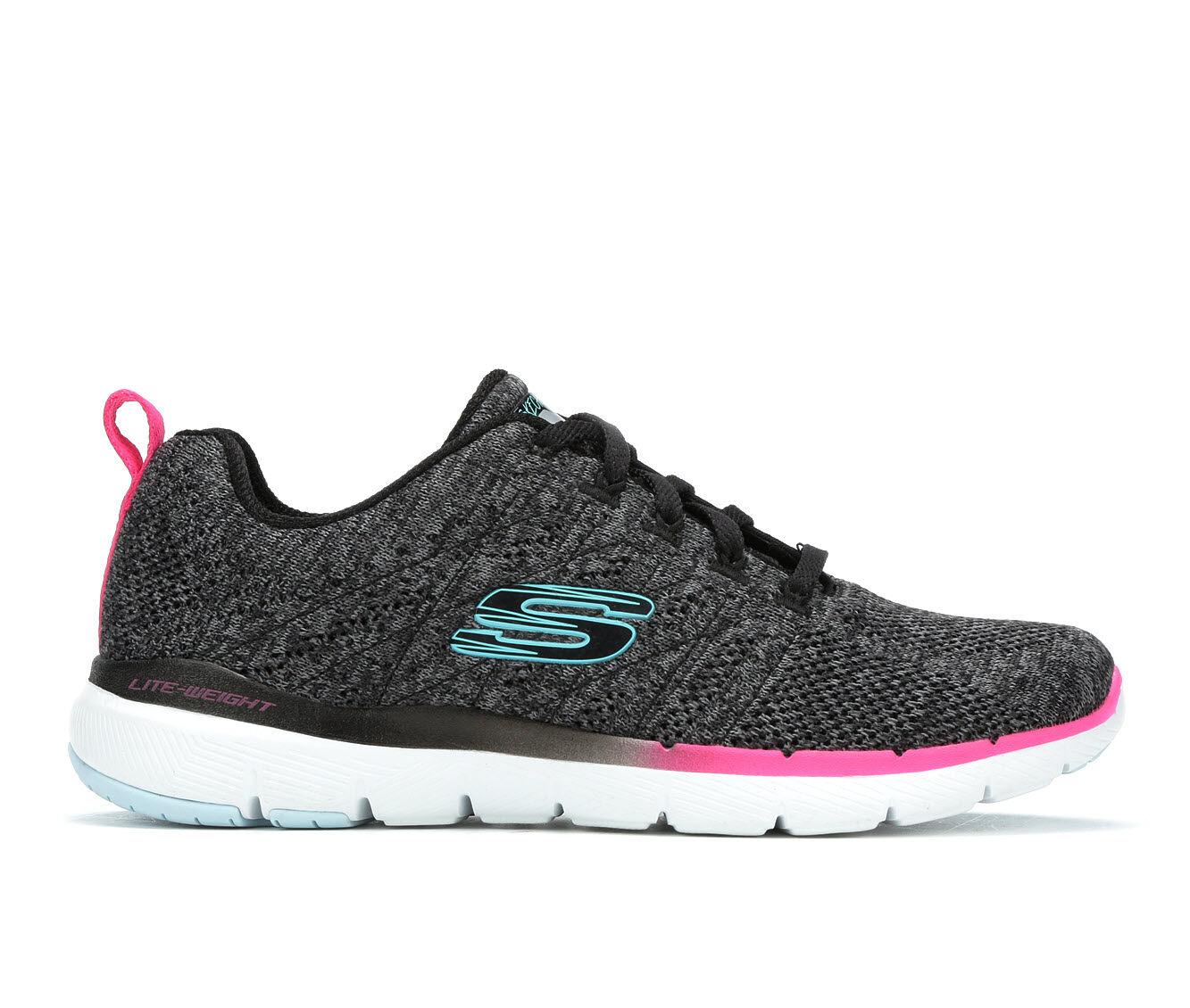 Women's Skechers Reinfall 13058 Sneakers Black/Blue/Pink