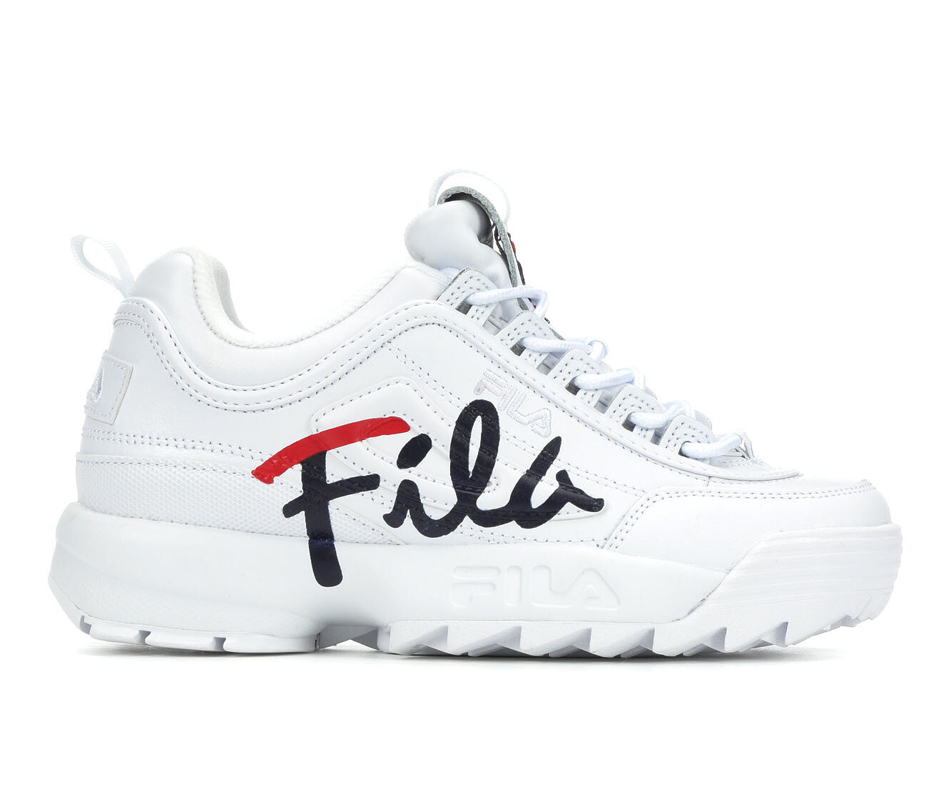 Women's Fila Disruptor II Script Sneakers White/Navy/Red