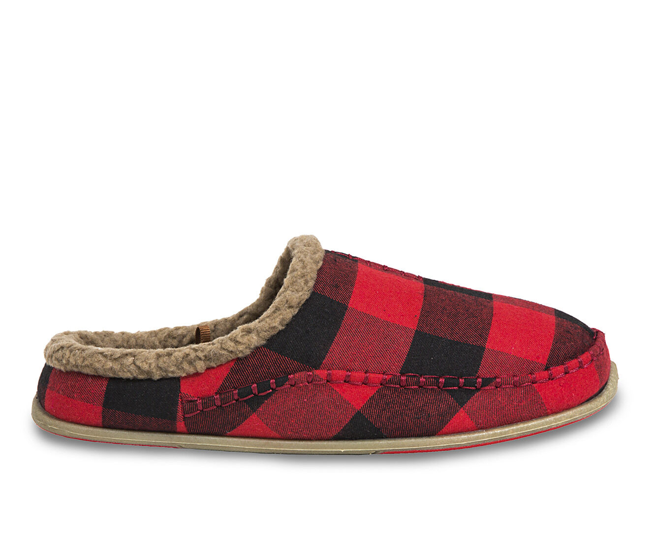 Deer Stags Nordic Slippers Red/Blk Plaid
