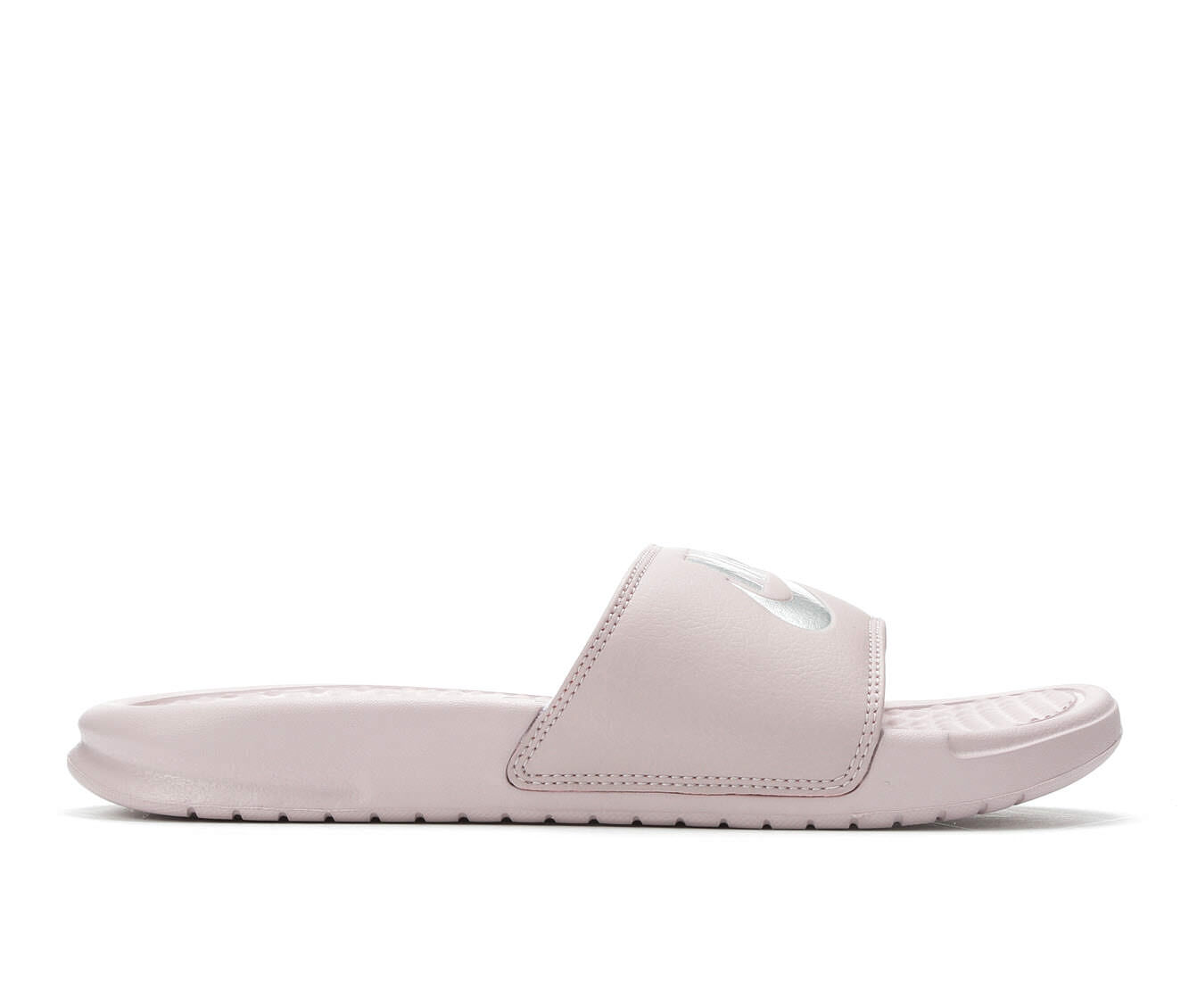 Women's Nike Benassi JDI Slide Sandals Rose/Met Silver