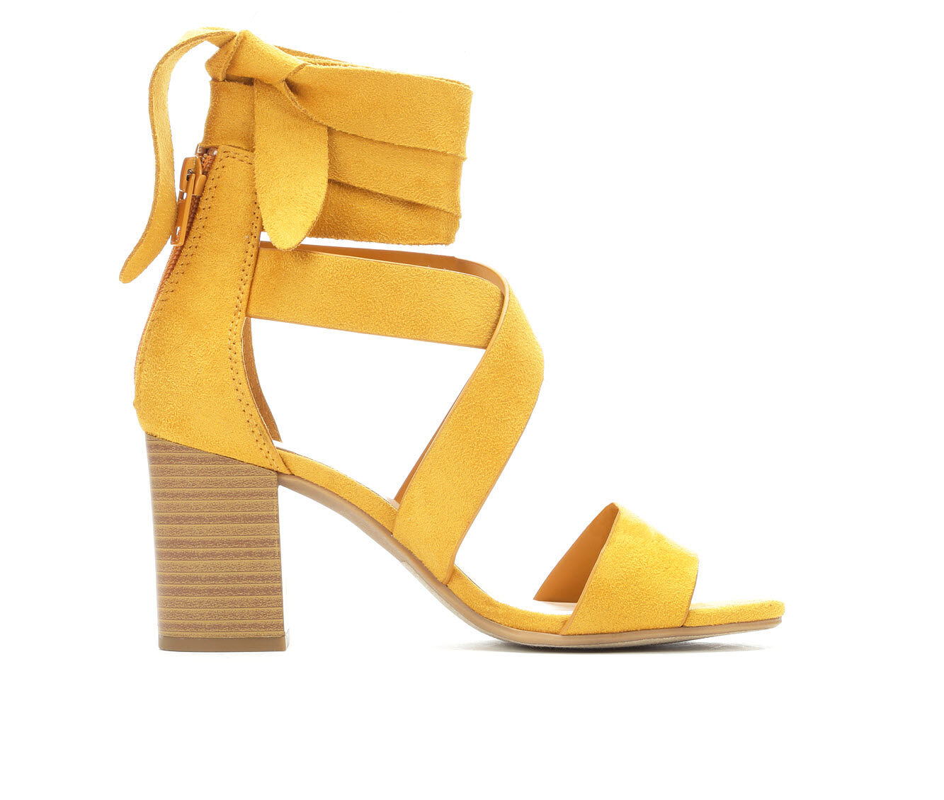 Women's City Classified Ladies Lace-Up Strappy Heeled Sandals Mustard