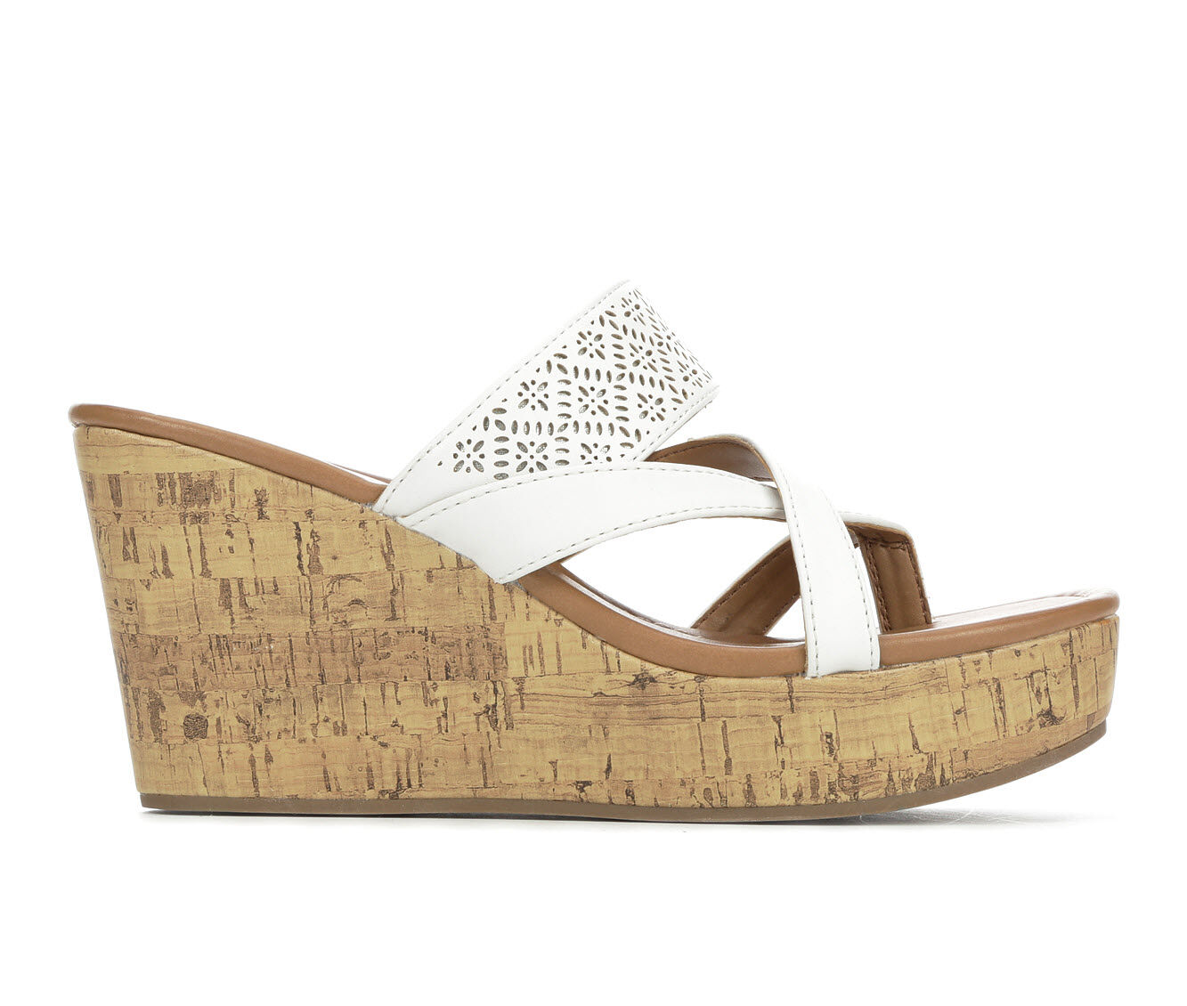 Price Reduced Women's Makalu Lucila Strappy Wedge Sandals White