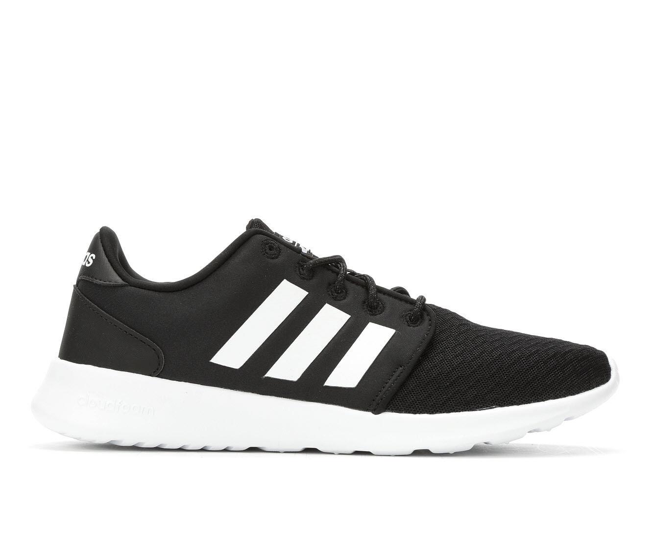 Women's Adidas Cloudfoam QT Racer Sneakers Black/Wht/Gry
