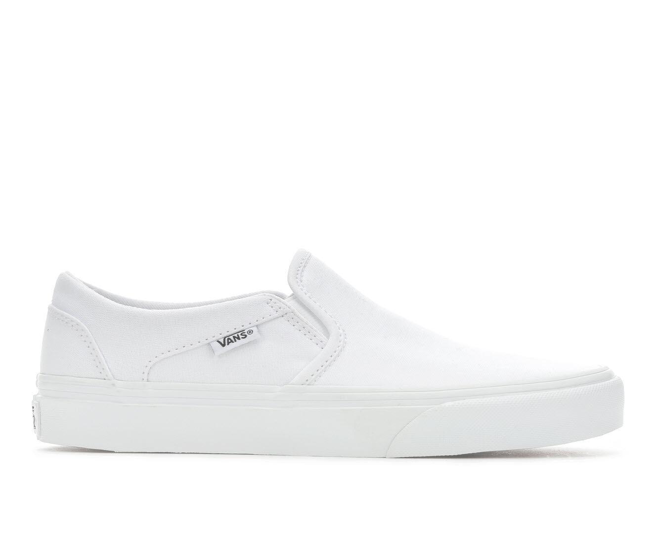 Fashionable Women's Vans Asher Slip-On Skate Shoes White Mono
