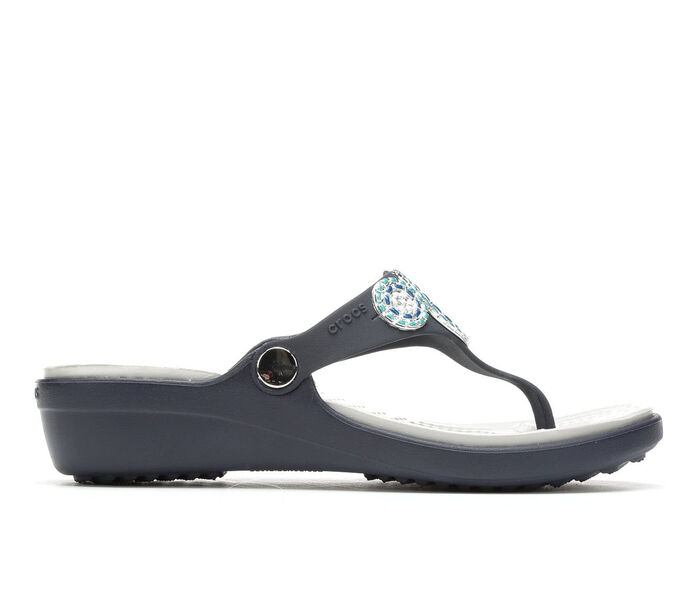 Women's Crocs Sanrah Diamente Wedge Flip-Flops