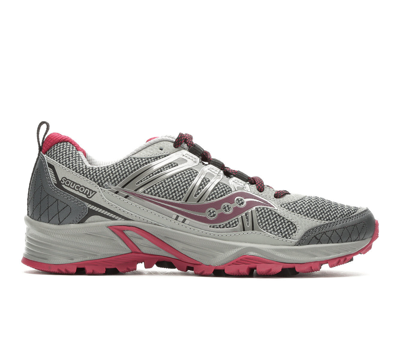 Women's Saucony Grid Eclipse TR 4 Trail Running Shoes Grey/Burgundy
