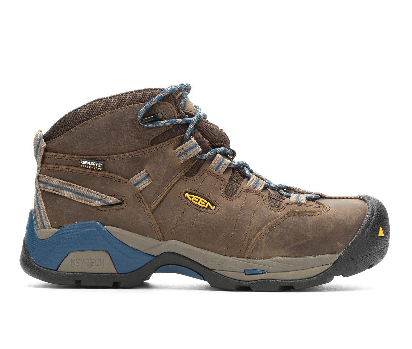 Men's KEEN Utility Detroit XT Mid Steel Toe Waterproof Work Boots Cascade Br/Bl