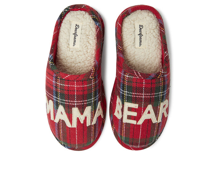 Dearfoams Mama Bear Plaid Slippers