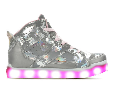 Girls' Skechers Energy Lights 2.0 Reflecti-Fab 10.5-7 High Top Light-Up Sneakers