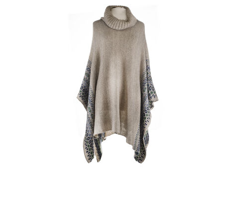 Jessica Simpson T-neck Poncho w/Border