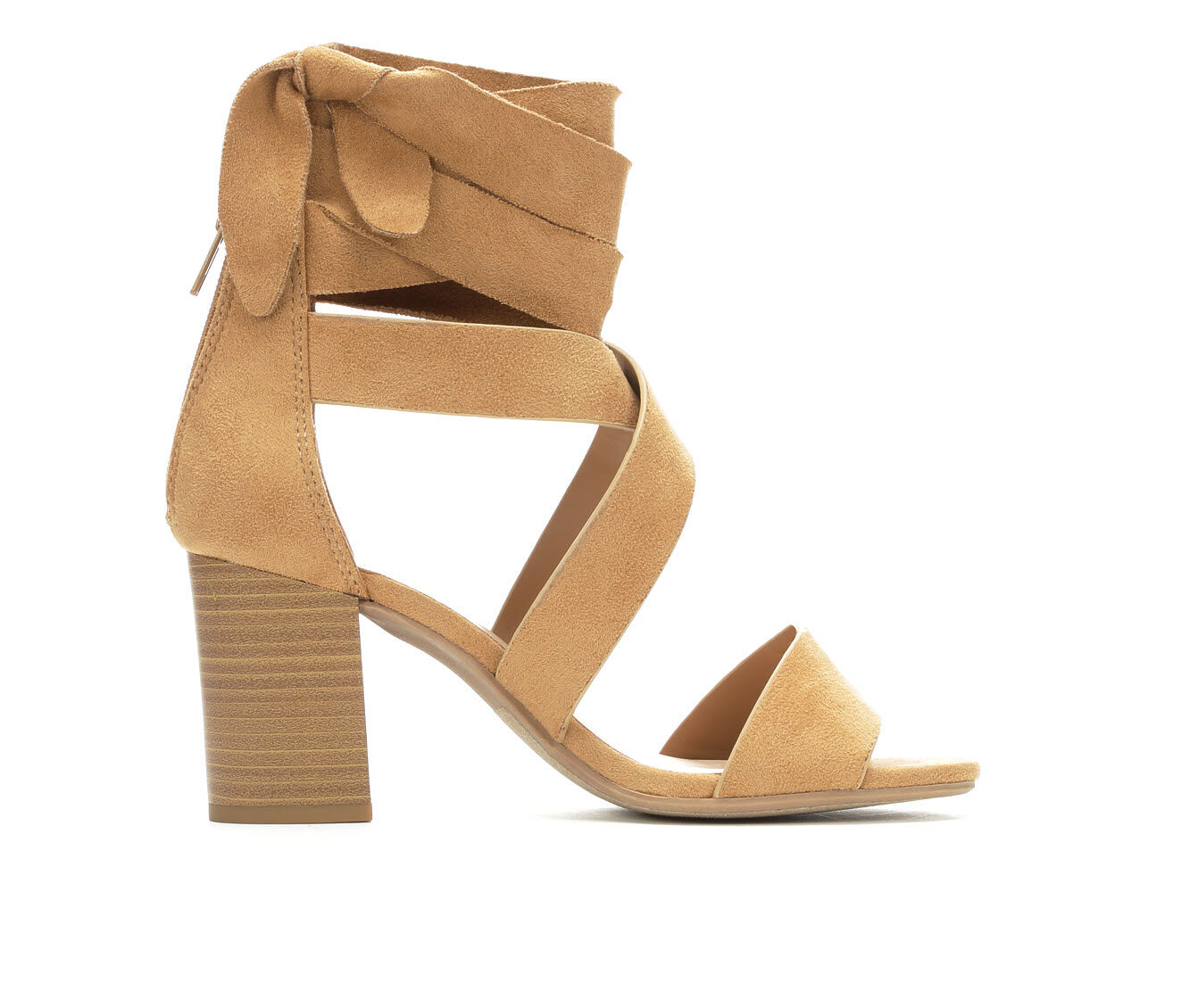 Women's City Classified Ladies Lace-Up Strappy Heeled Sandals Camel