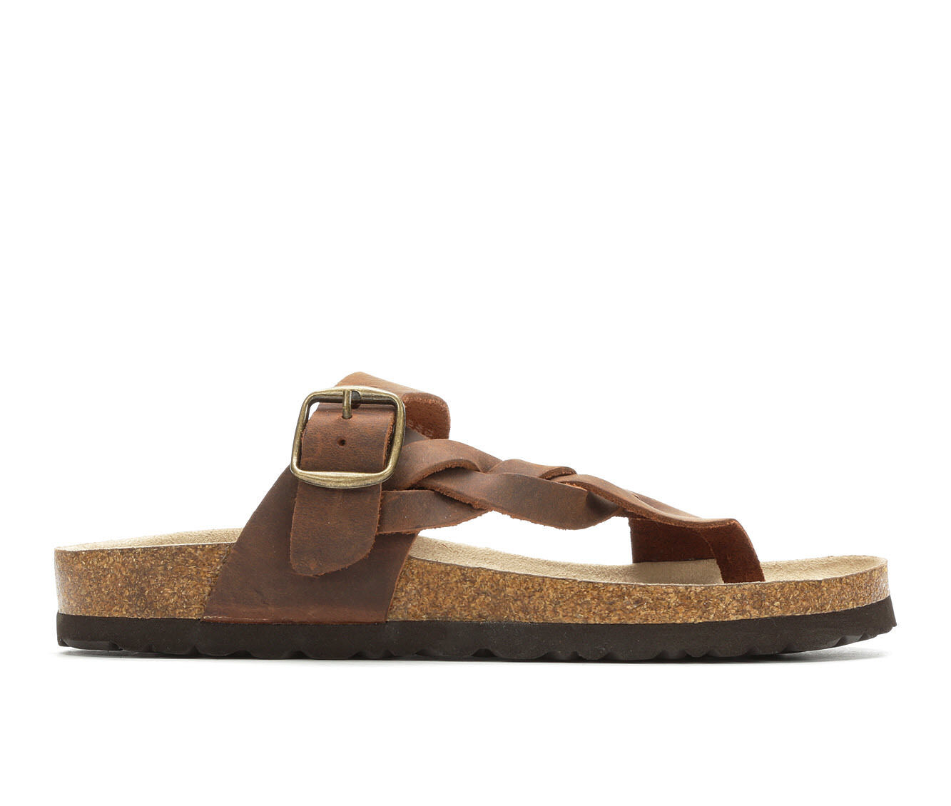 Women's White Mountain Crawford Footbed Sandals Brown Leather