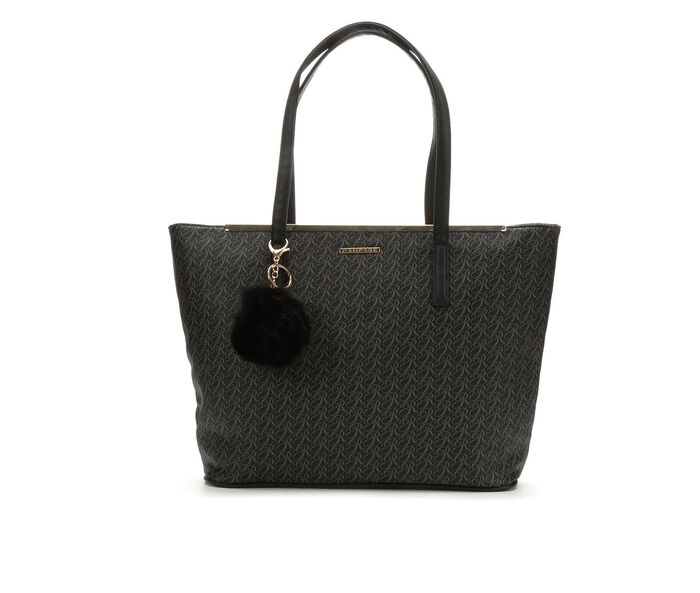 Rampage Sign Print Tote with Pom