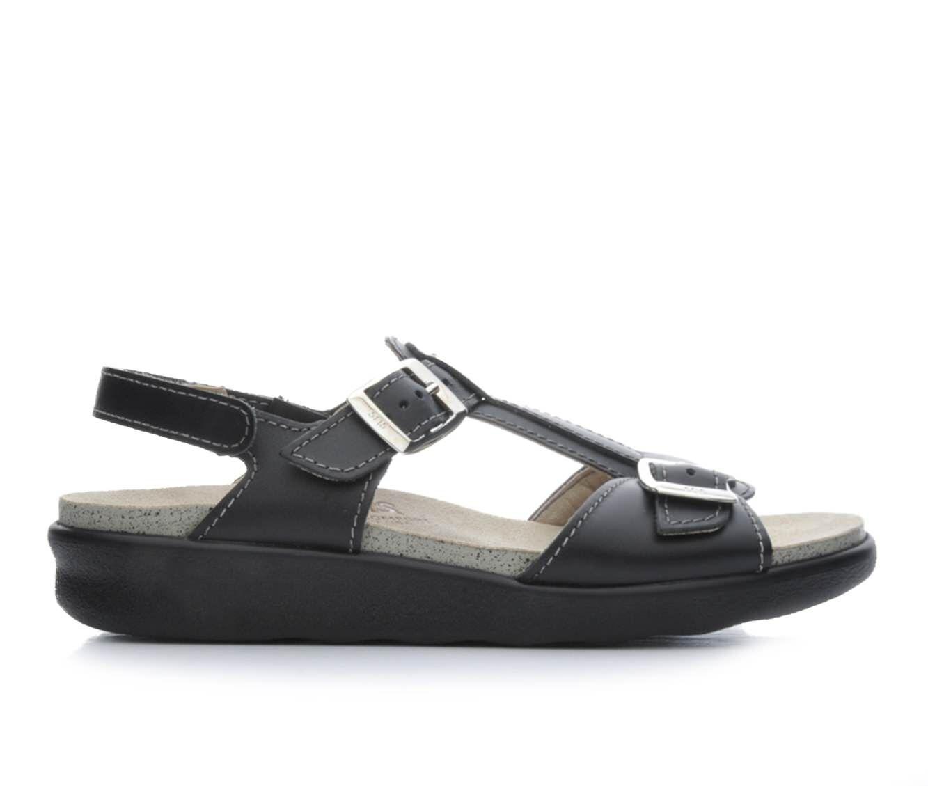 buy latest series Women's Sas Captiva Footbed Sandals Black