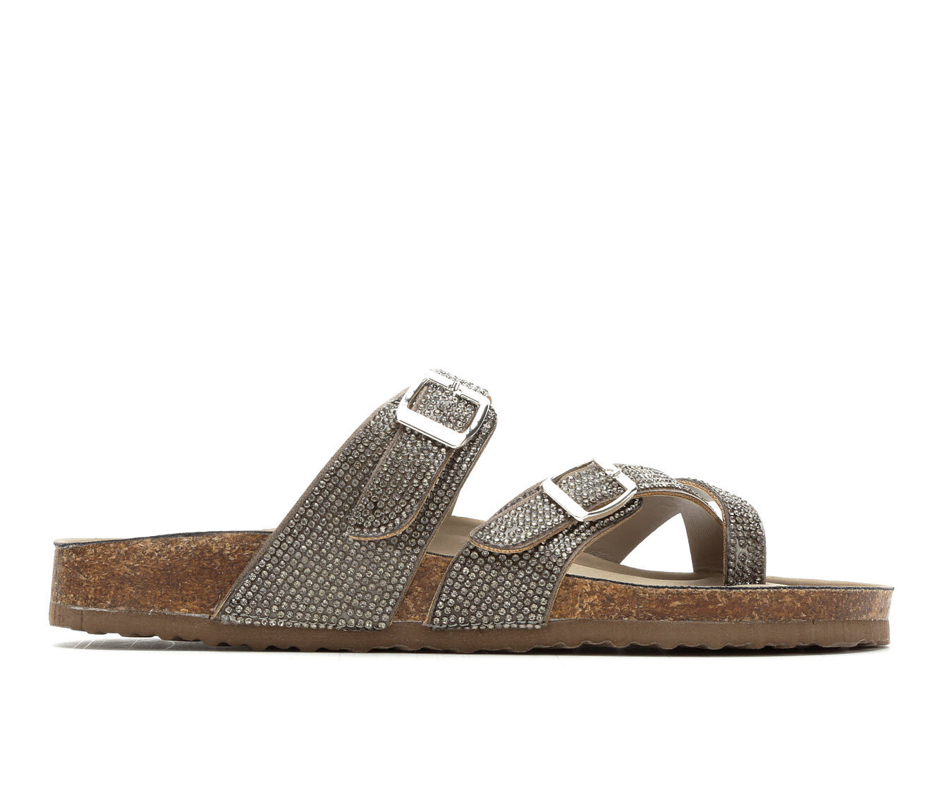 Women's Madden Girl Bryceee Footbed Sandals Pewter Multi
