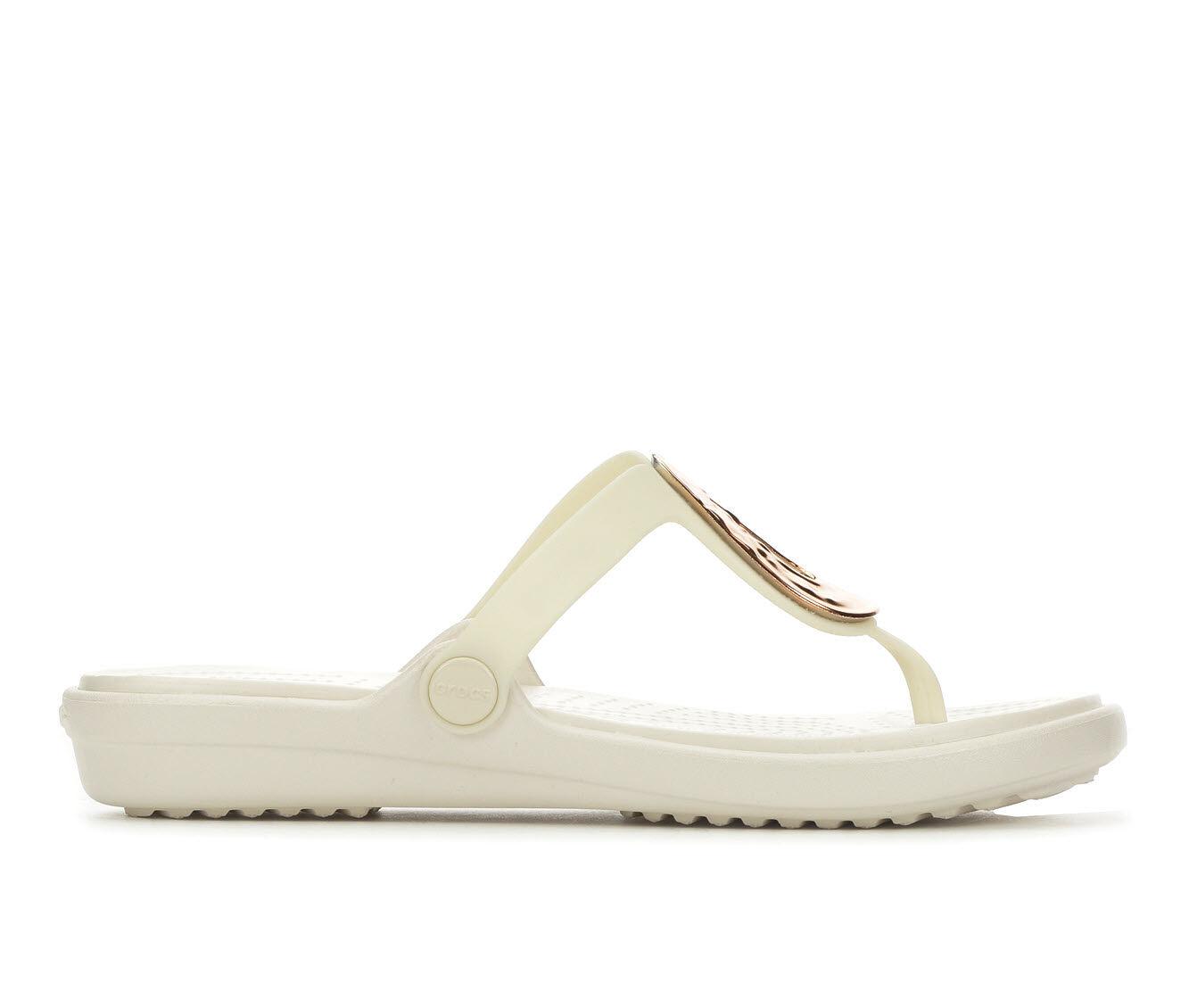 Women's Crocs Sanrah Metallic Flip-Flop Rose Gold/Oyste