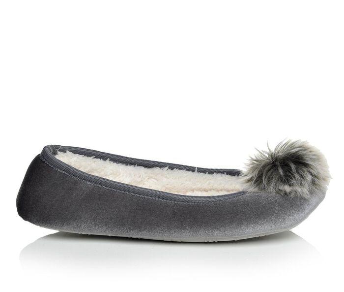 Women's Collection 18 Velvet Ballerina Slipper with Fur Pom