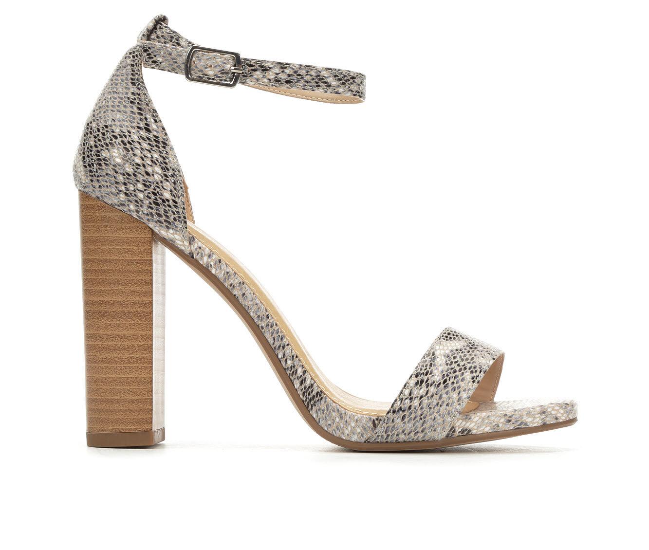 Women's Delicious Shiner Heeled Sandals Beige Python