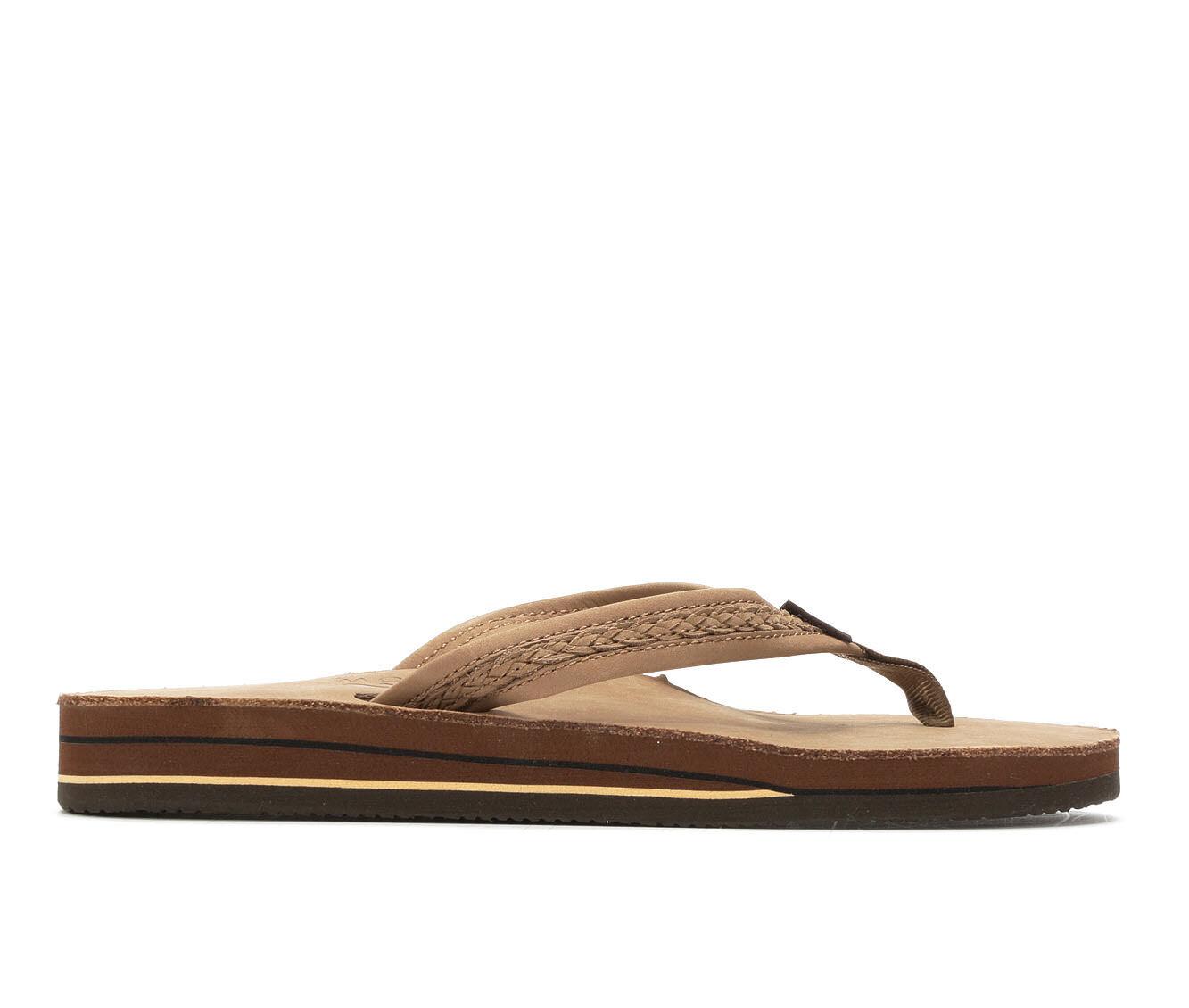 Best Buy Women's Rainbow Sandals Willow Leather Flip-Flops Dark Brown