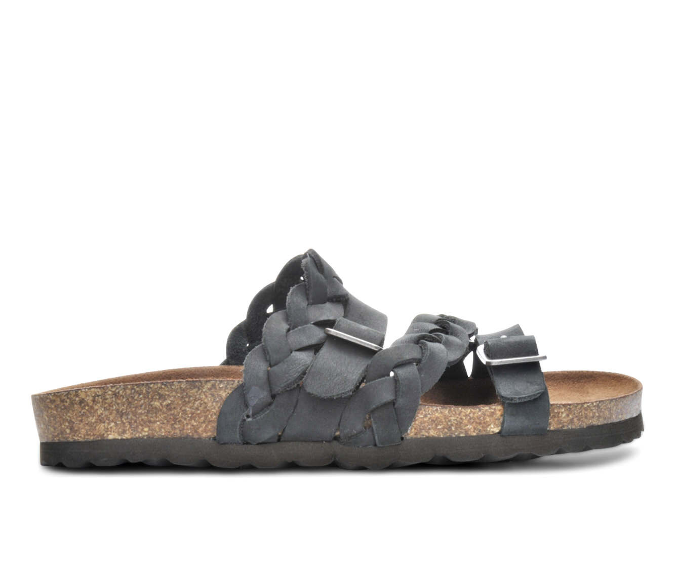 Women's White Mountain Holland Strappy Footbed Sandals Black