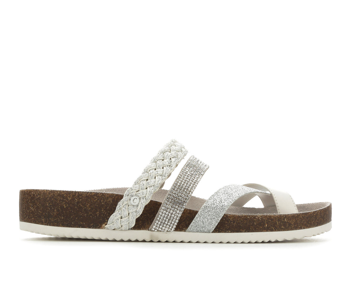 Women's Circus by Sam Edelman Oriel Footbed Sandals Brt Wht/Silver