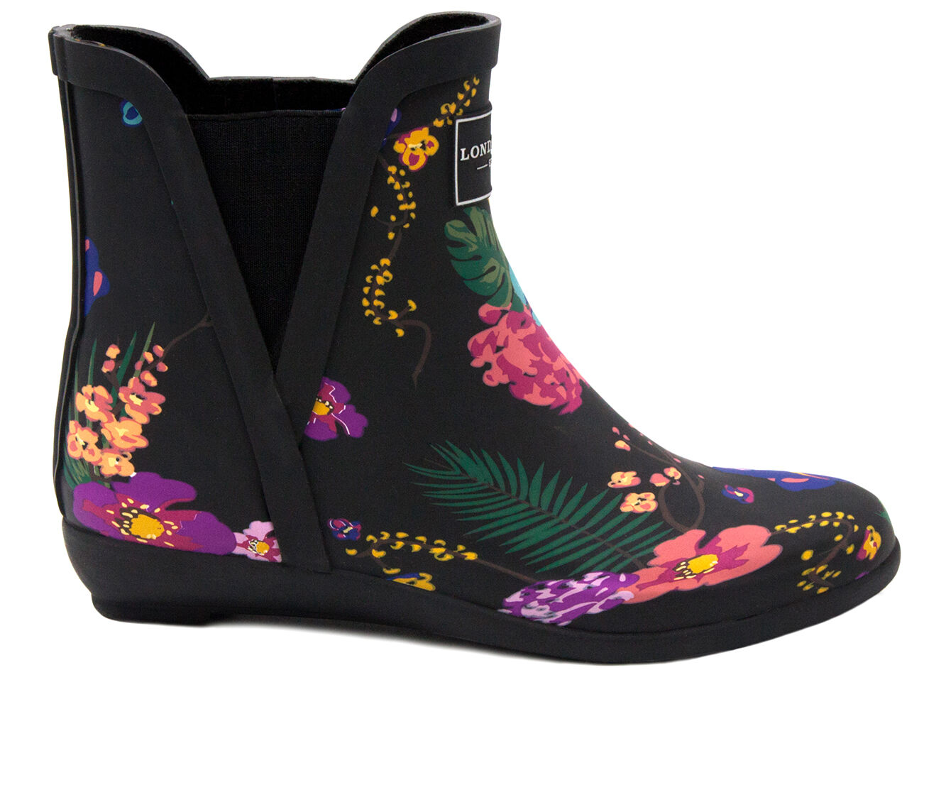 Women's London Fog Piccadilly Rain Boots Black Floral