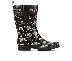 Women's Capelli New York Cute Owl Mid Rain Boots