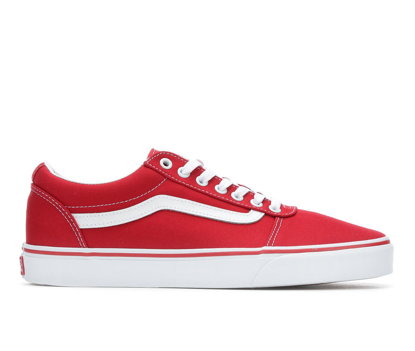 Men's Vans Ward Skate Shoes Racing Red/Whit