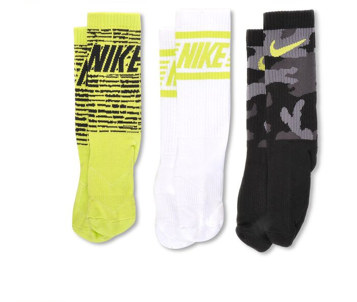 Boys' Nike 3-Pair Boys Graphic Crew Socks Small