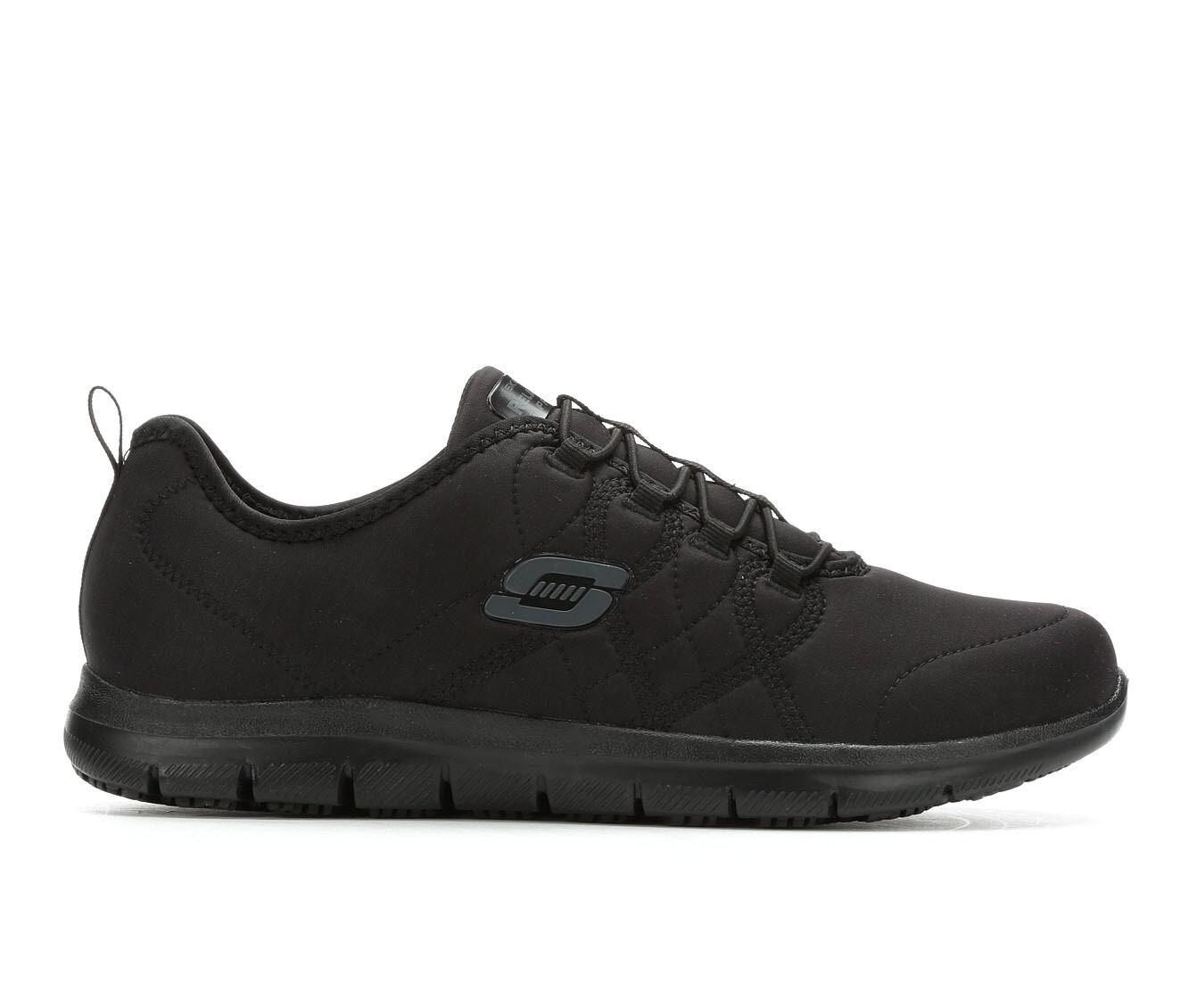 Women's Skechers Work 77211 Srelt Slip-Resistant Shoes Black
