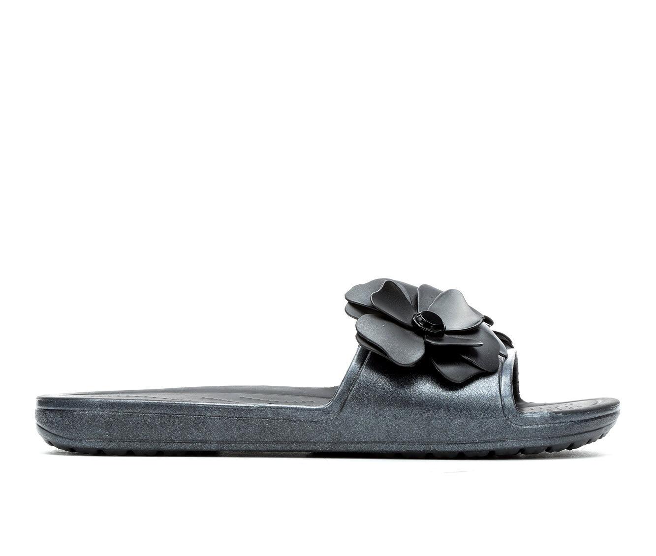 Women's Crocs Vivid Blooms Slides Black