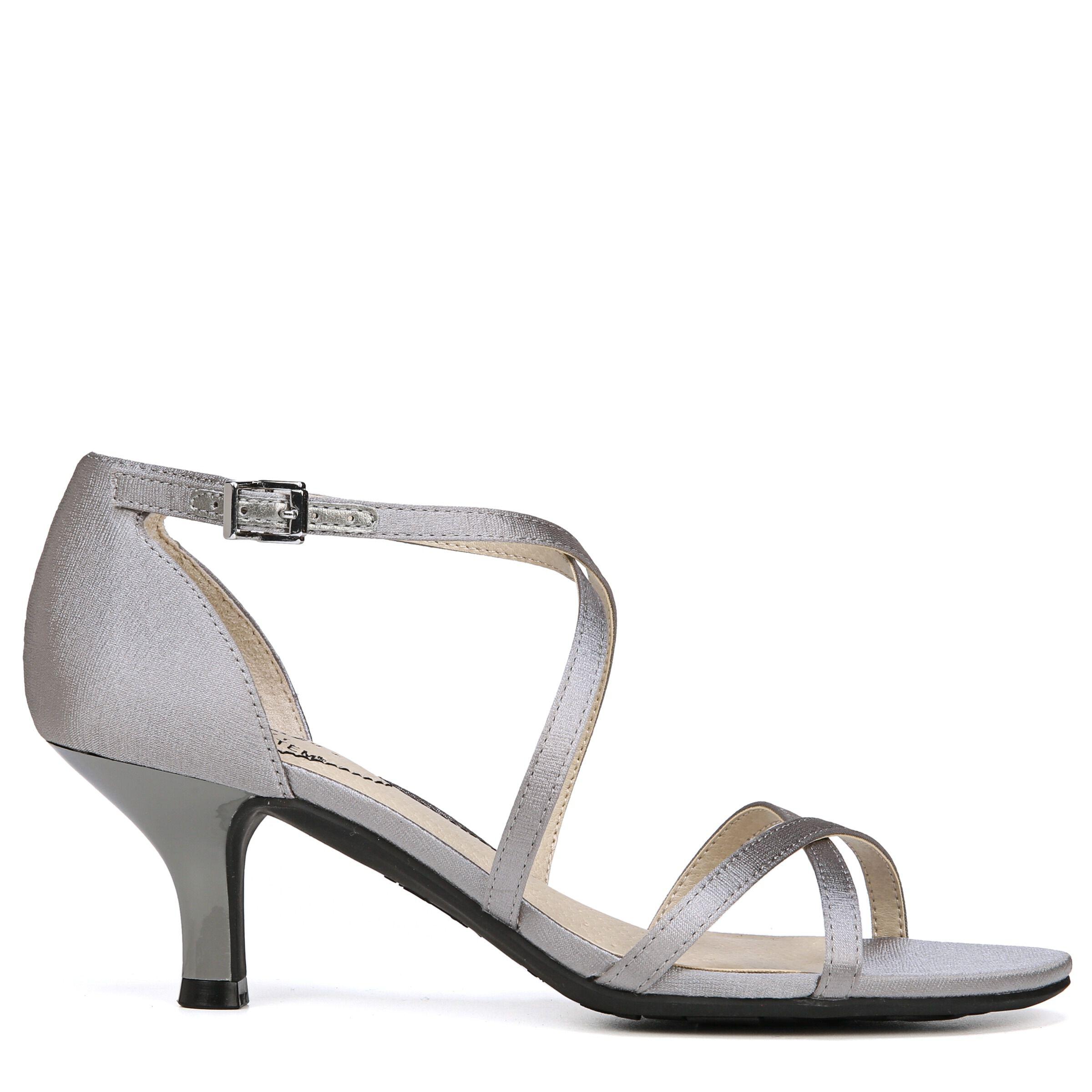 Women's LifeStride Flaunt Strappy Heeled Dress Sandals Pewter T. Satin