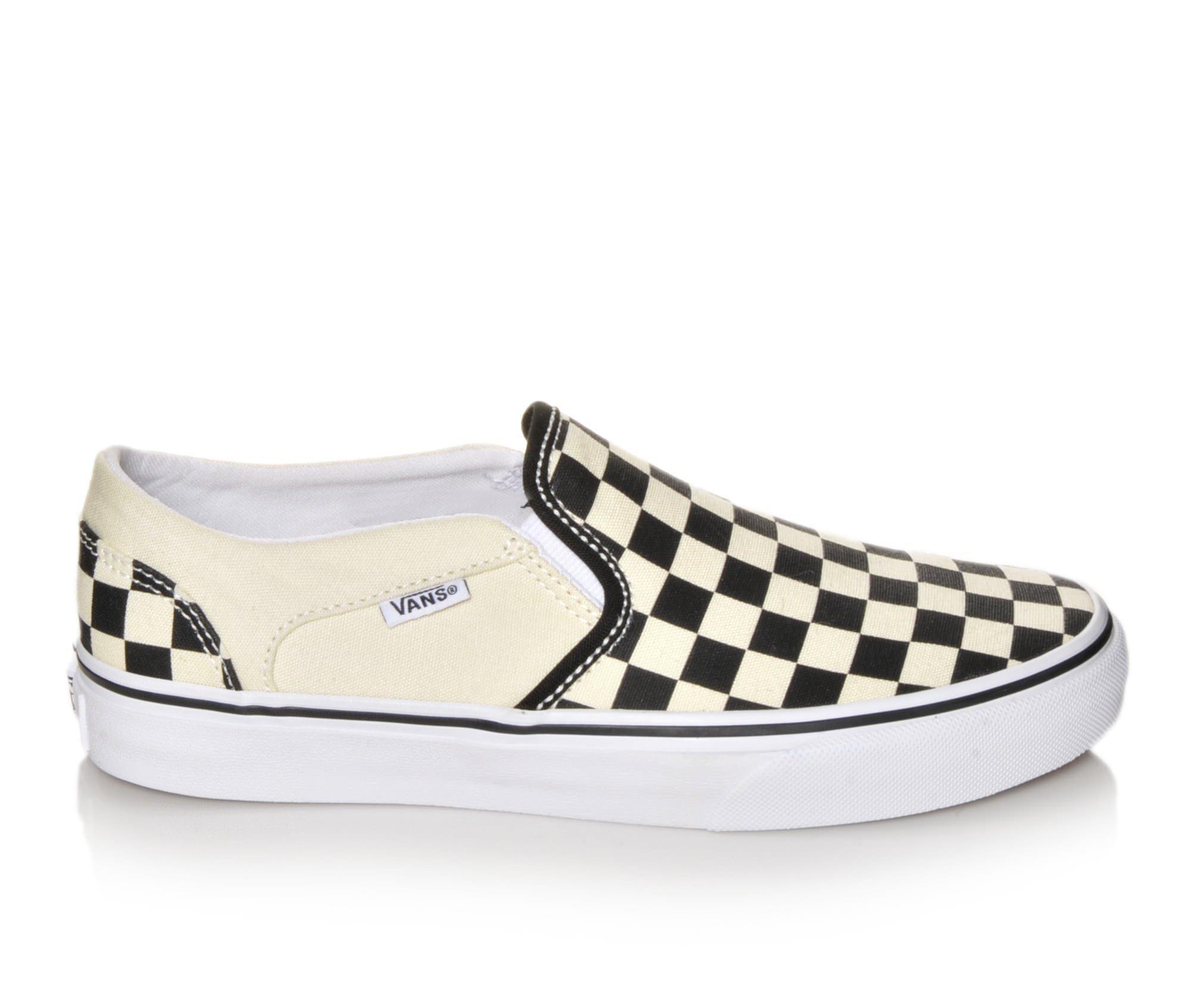 Women's Vans Asher Slip-On Skate Shoes Blk/Wht Checker